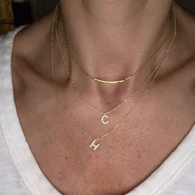 Custom Double or Triple Layered Initial Necklace JEWELRY The Sis Kiss