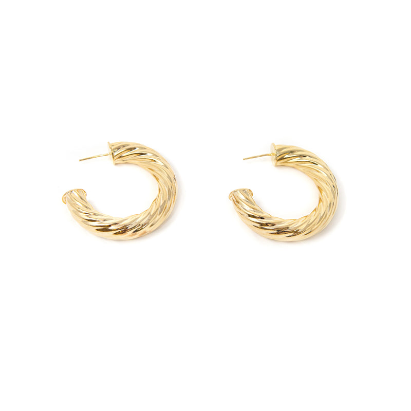 "Gold Twist Hoop Earrings JEWELRY The Sis Kiss Small (1.5"")"