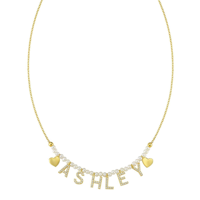 Pearl It's All in a Name™ Necklace JEWELRY The Sis Kiss Yellow Gold