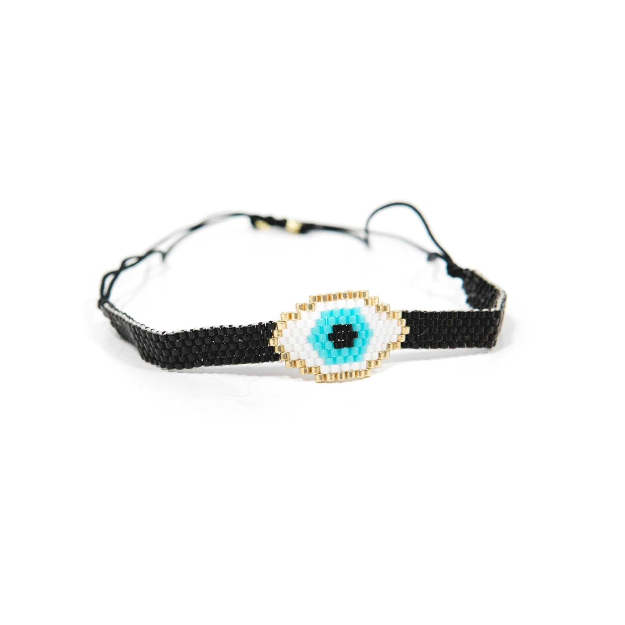 Adjustable Beaded Evil Eye Black Bracelet