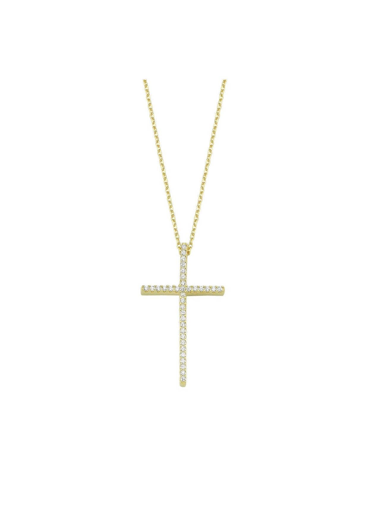 Tall Pave Cross Necklace