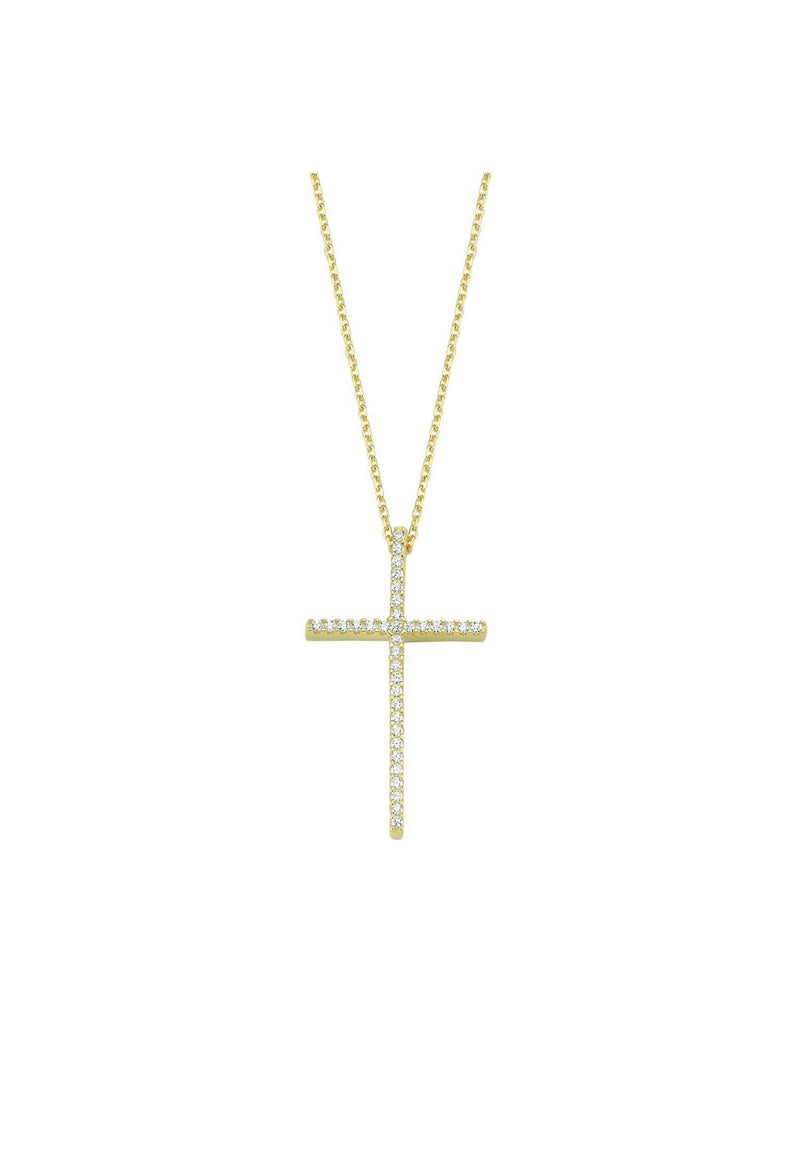 Tall Pave Cross Necklace JEWELRY The Sis Kiss