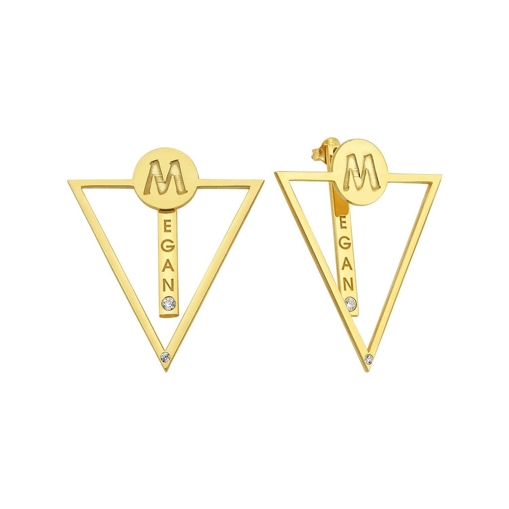 Custom Name Triangle Earrings JEWELRY The Sis Kiss Gold