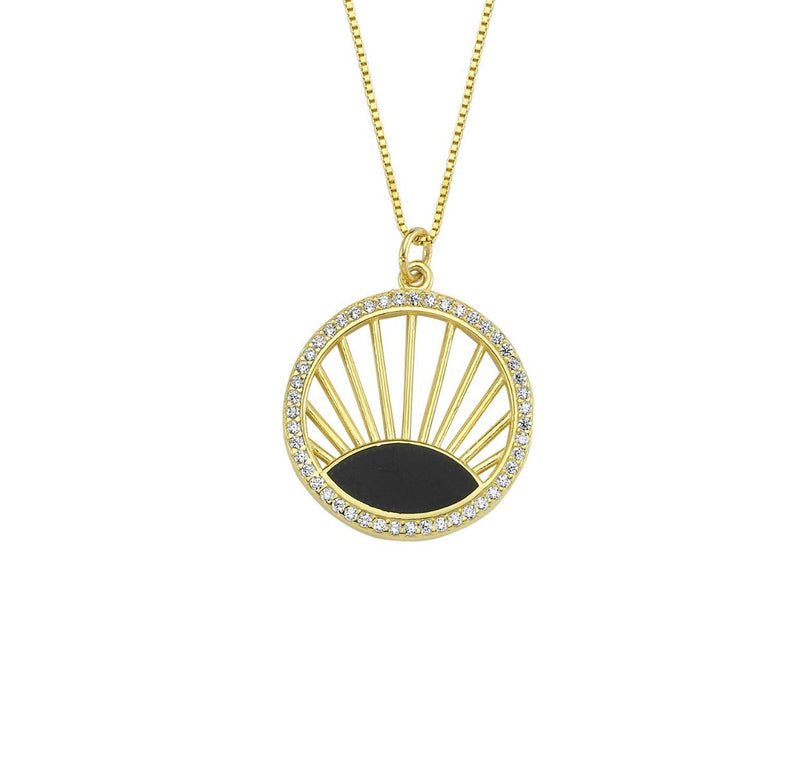 Pave Black Sunburst Necklace JEWELRY The Sis Kiss