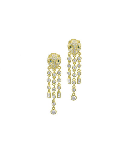 Panther Dangle Crystal Earrings