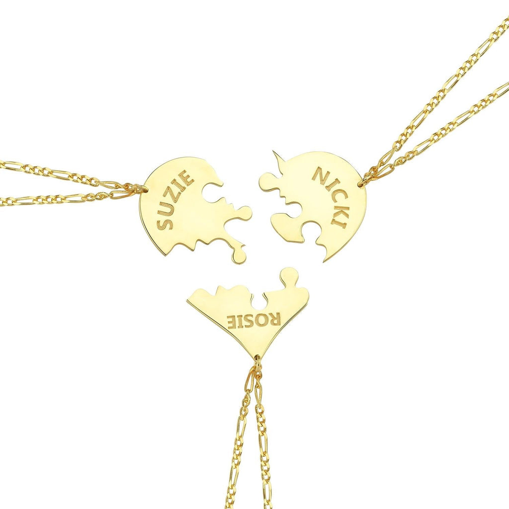 Custom Puzzle Necklace JEWELRY The Sis Kiss Three pieces Gold