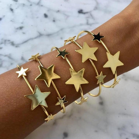 Star Gold Cuff Bangle Bracelet