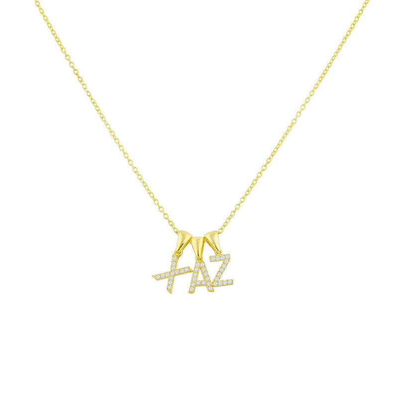 Custom Layered Initial Necklace JEWELRY The Sis Kiss Three Initials Gold No Crystals