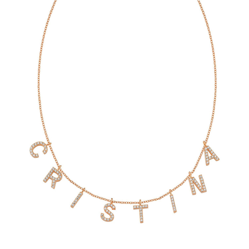 It's All in a Name™ Personalized Necklace JEWELRY The Sis Kiss Rose Gold with Crystals
