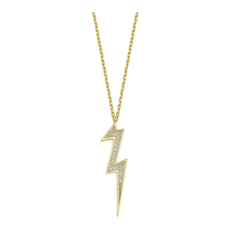 Lightning Bolt Sterling Necklace necklace The Sis Kiss Clear