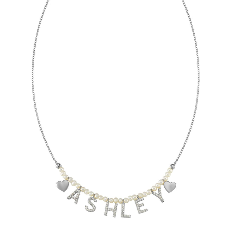 Pearl It's All in a Name™ Necklace JEWELRY The Sis Kiss Silver