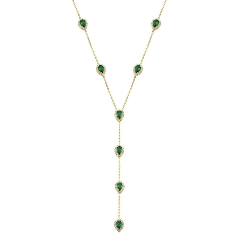 Stone Lariat Necklace JEWELRY The Sis Kiss Green stones