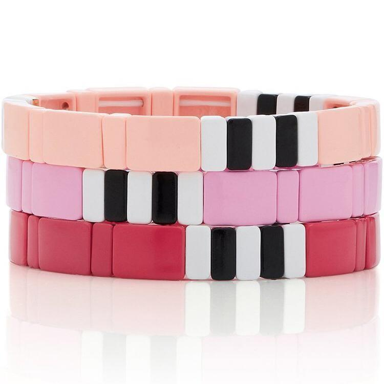 Peach/Red/Pink tile bracelets JEWELRY The Sis Kiss