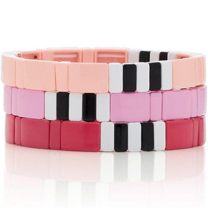 Peach/Red/Pink tile bracelets