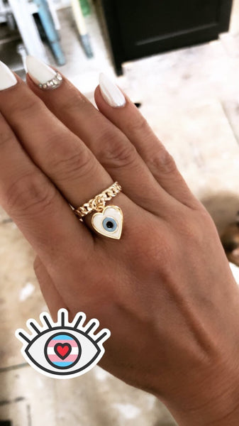 Evil Eye Heart Dangle Ring