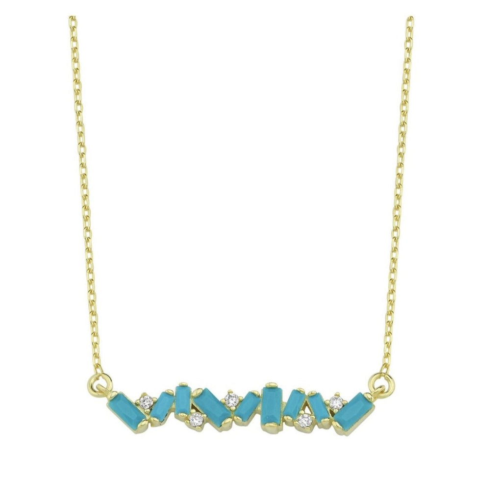 Rocky Bar Necklace JEWELRY The Sis Kiss Blue Crystals