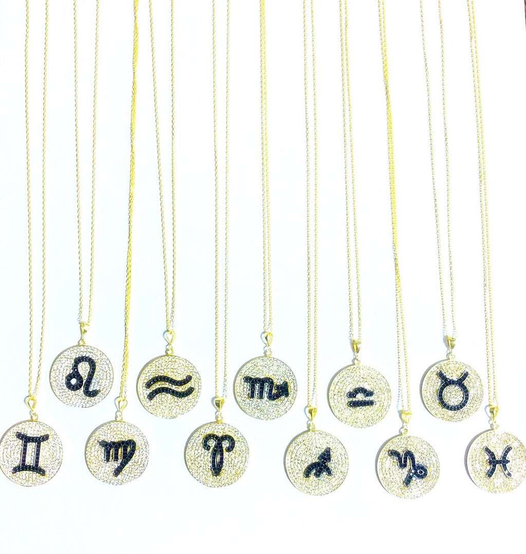 Crystal Coin Zodiac Necklace JEWELRY The Sis Kiss