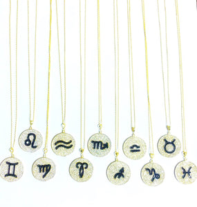 Crystal Coin Zodiac Necklace
