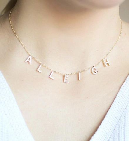 NON CUSTOMIZABLE It's All in a Name™ Necklace Gold With Crystals (A thru J) Ready to Ship