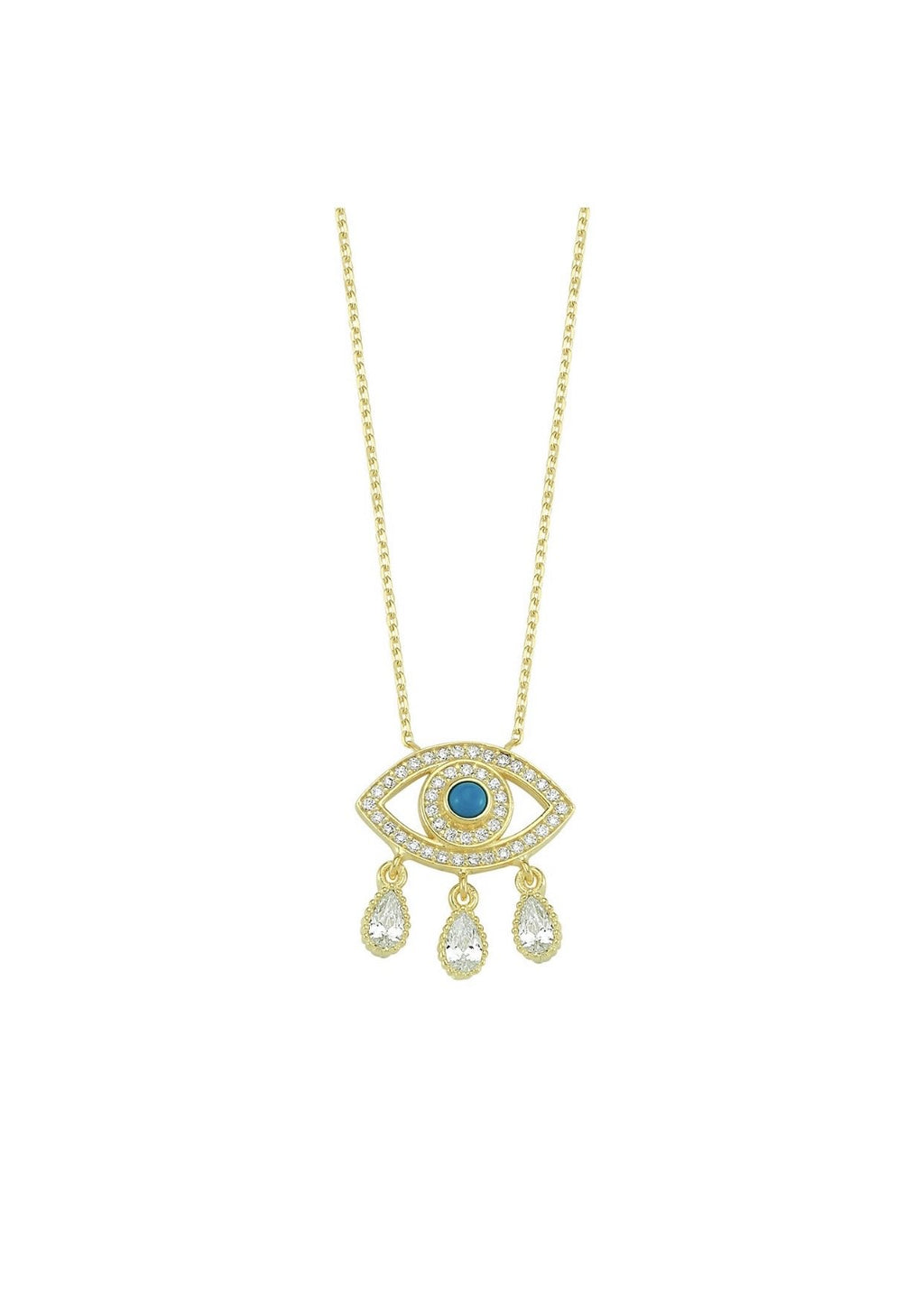Evil Eye Charm Drop Necklace