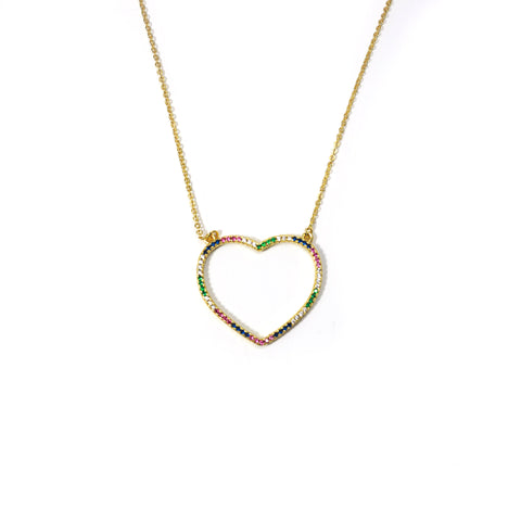 Open heart Rainbow Necklace