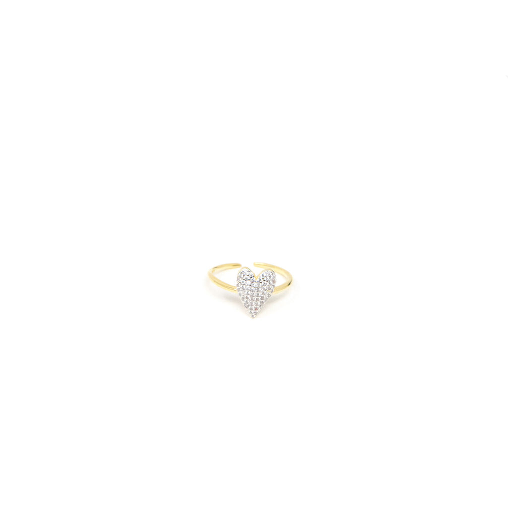 Adjustable Crystal Heart Ring