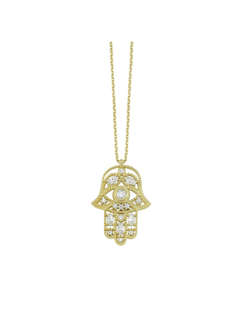 Pave Hamsa Hand Necklace JEWELRY The Sis Kiss