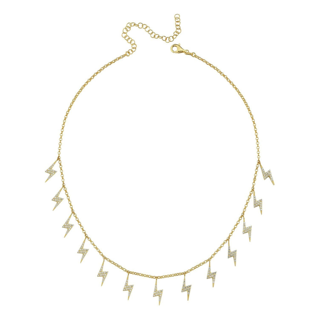 Lightning Bolt Choker Necklace JEWELRY The Sis Kiss Clear