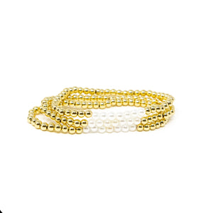 Pearl and Gold Bead Stretch Bracelet