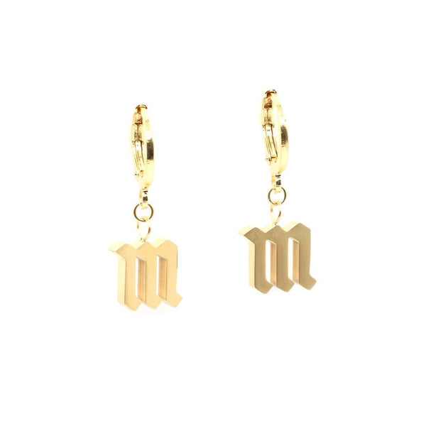 Gothic Initial Huggie Earrings