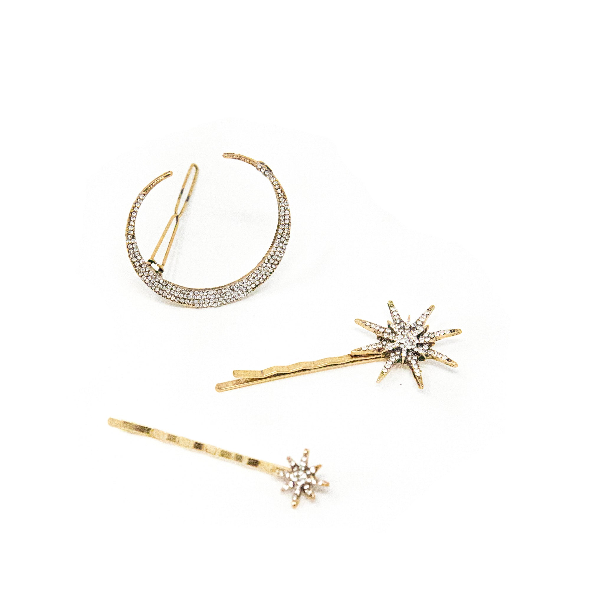 Star and Moon Barrette Set
