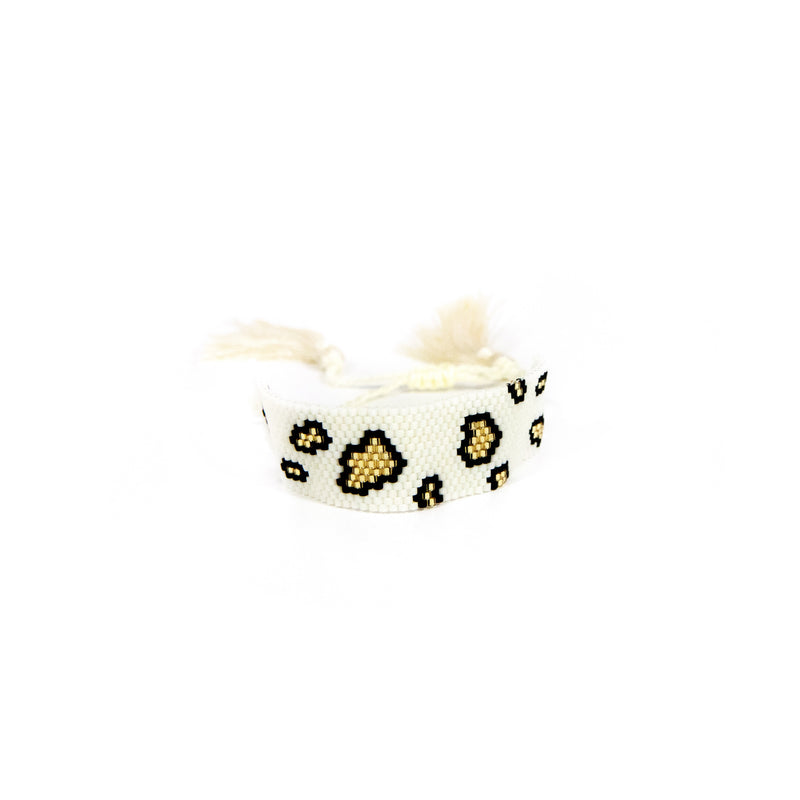 White Leopard Beaded Bracelet JEWELRY The Sis Kiss