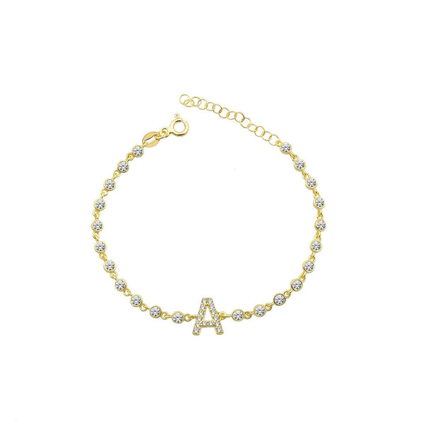 Crystal Single Letter Initial Bracelet