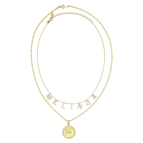 Perfect Pair- Personalized Necklace Duo: Custom It's All in a Name™ Necklace & Greek Goddess Coin