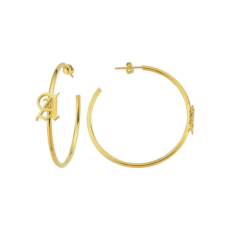 Custom Old English Initial Hoops JEWELRY The Sis Kiss Gold