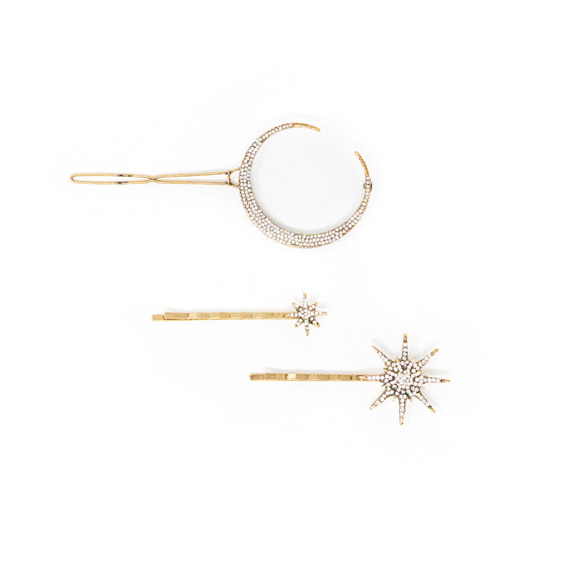 Star and Moon Barrette Set ACCESSORY The Sis Kiss