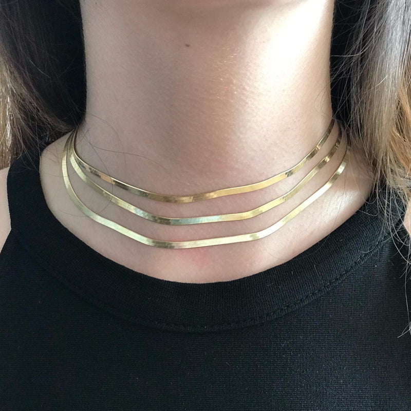 Gold Chain Flat Choker JEWELRY The Sis Kiss