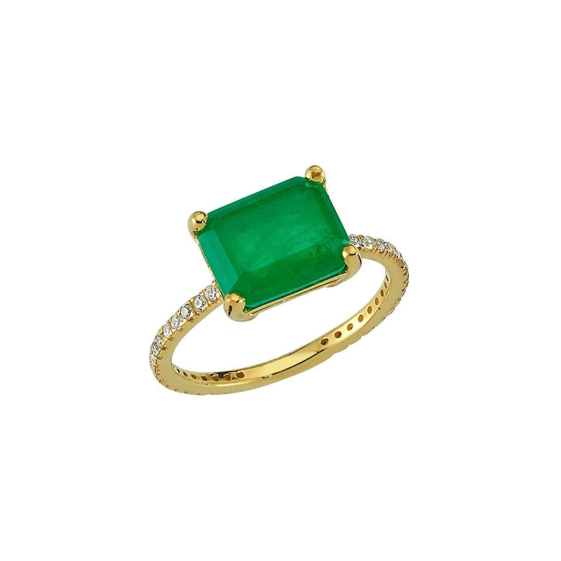 Green Pave Band Ring