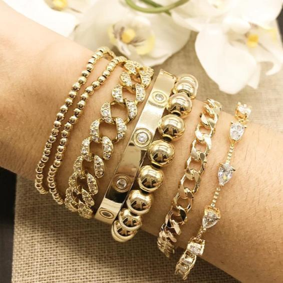 Classic Beaded Elastic Bracelets JEWELRY The Sis Kiss