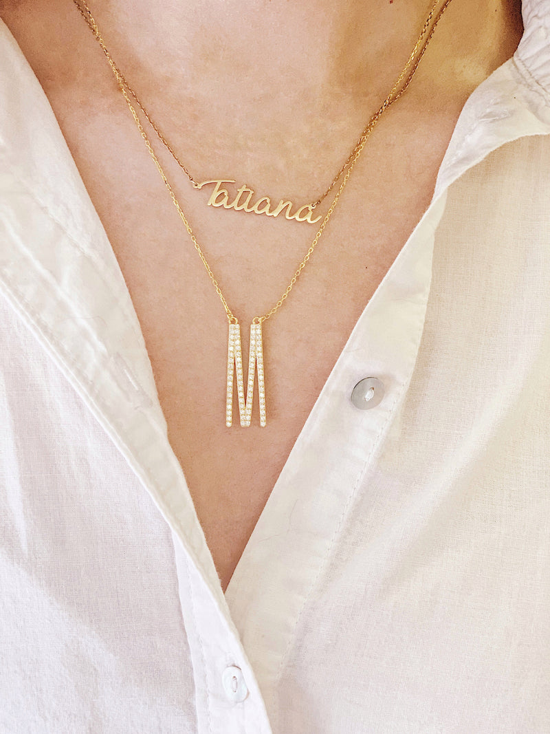 Tall Crystal Initial Necklaces JEWELRY The Sis Kiss