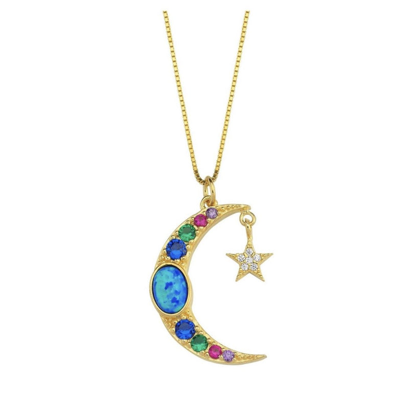 Opal Moon and Star Necklace JEWELRY The Sis Kiss