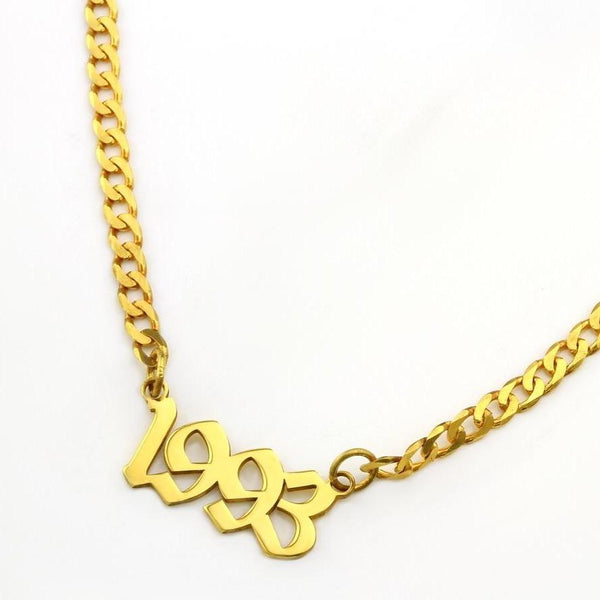 Custom Old English Nameplate Necklace on Link Chain