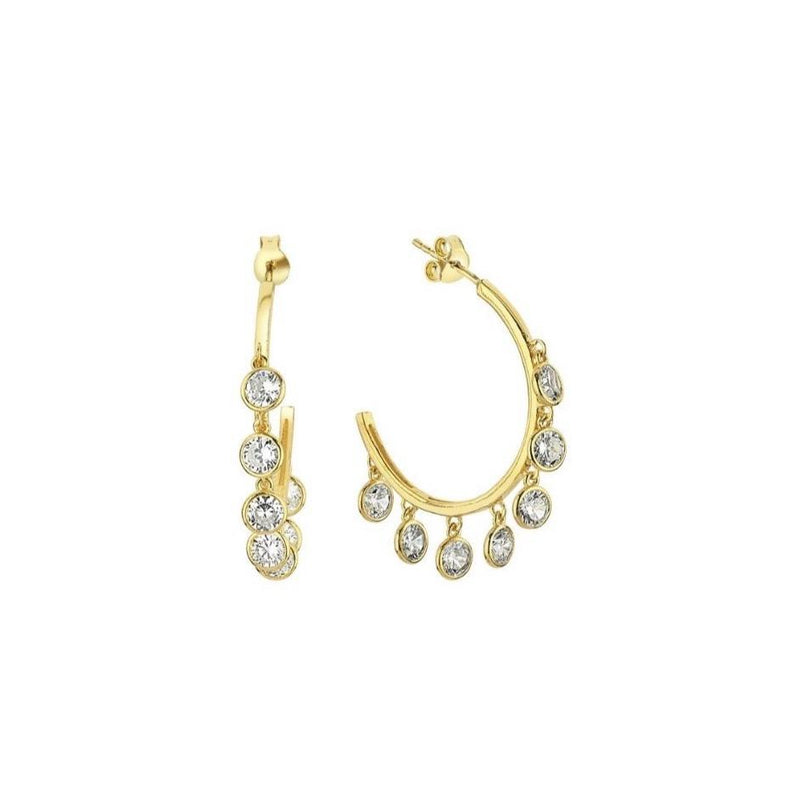 Multi Dangle Crystal Hoop Earrings