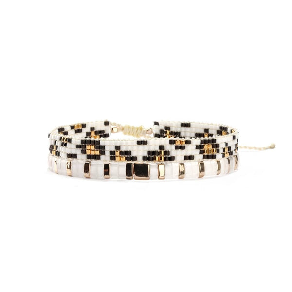 Animal Print Beaded/Tile Bracelet Set