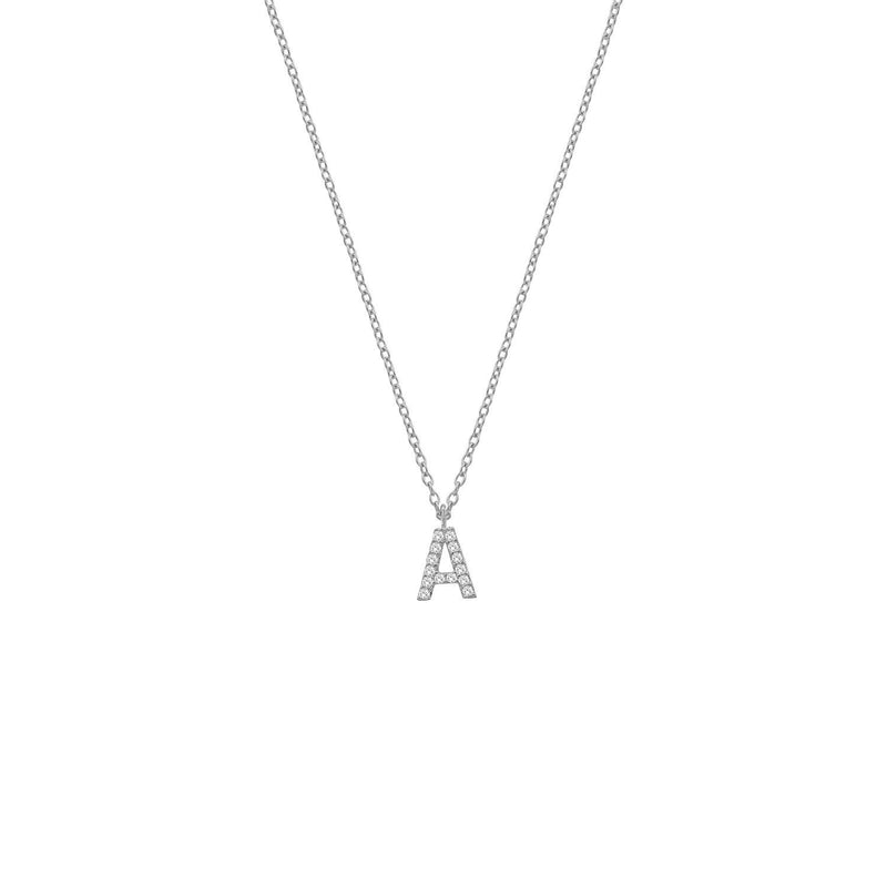 Classic Initial Necklaces JEWELRY The Sis Kiss Silver with Crystals A