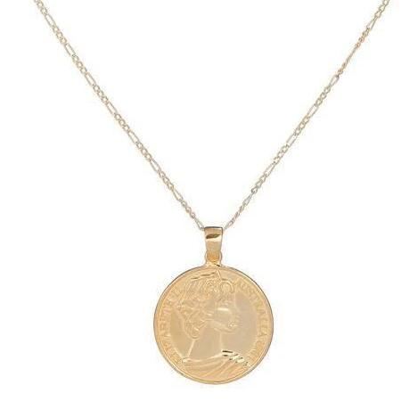 "Greek Goddess Coin Necklace - 15 necklace The Sis Kiss Greek Goddess 15"" Rose Gold Silver"