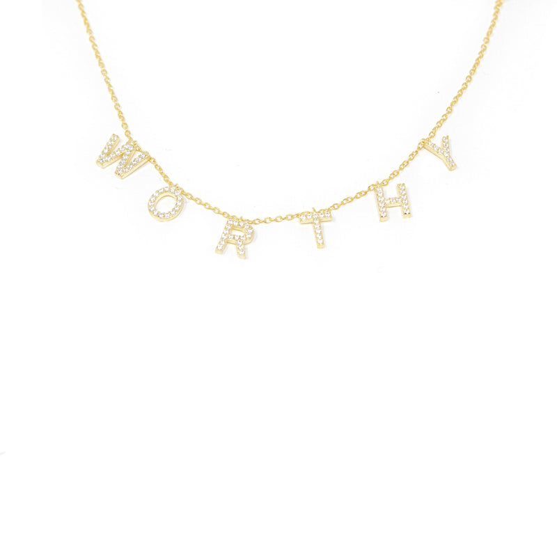 Ready To Ship It's All in a Name™ Necklace JEWELRY The Sis Kiss Worthy Gold with Crystals