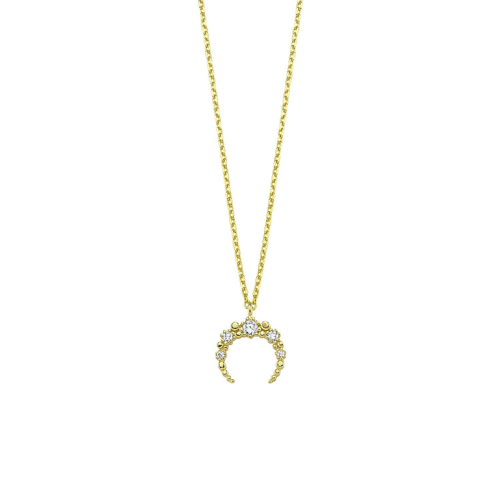 Pave Mini Horn Necklace The Sis Kiss