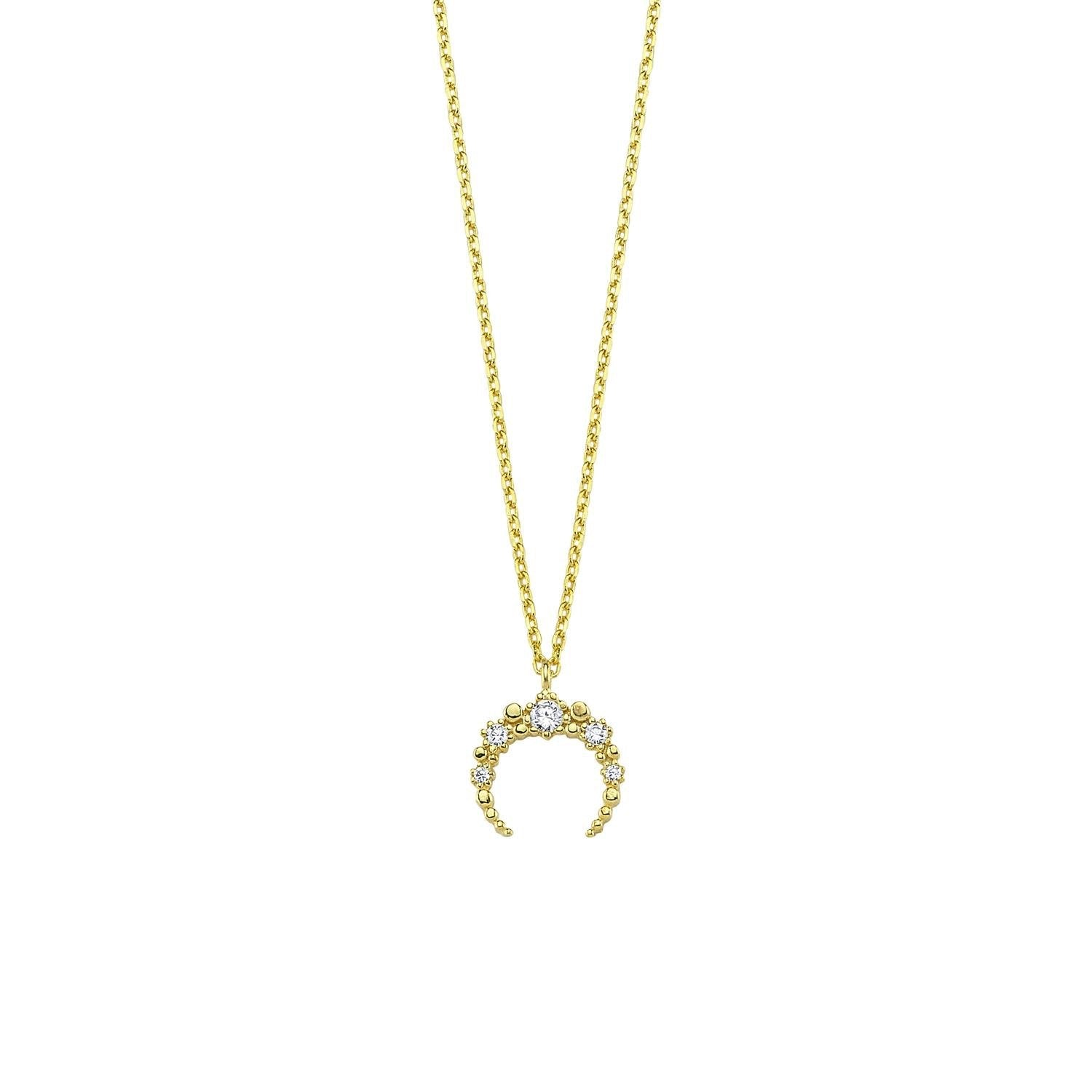 Pave Mini Horn Necklace