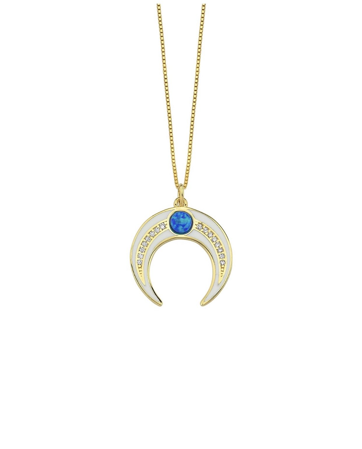 Blue Opal Enamel Horn Necklace